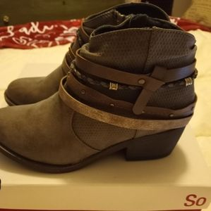 Gray Bootie With Layers of Straps